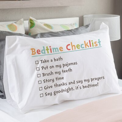 Bedtime Checklist Pillow Case