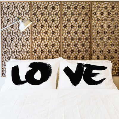 Better Together 2 Piece LOVE Painted Pillow Case Set