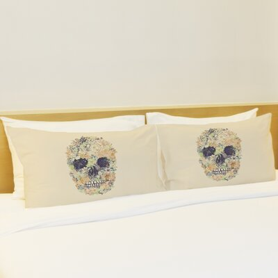 Better Together 2 Piece Dia Muertos Skull Flowers Pillow Case Set