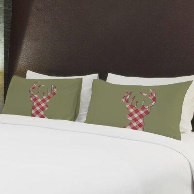 Better Together 2 Piece Deer Silhouette Plaid Pillow Case Set