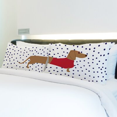 2 Piece Dachshund Dots Pillow Case Set