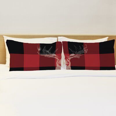Better Together 2 Piece Buffalo Check Moose Pillow Case Set