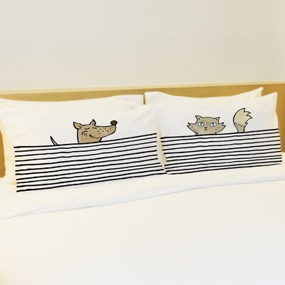 Better Together 2 Piece Peeking Pet Lines Pillow Case Set