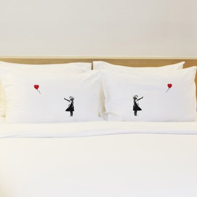 Better Together 2 Piece Girl Chasing Heart Pillow Case Set