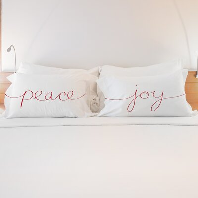 Better Together 2 Piece Peace Joy Script Pillow Case Set
