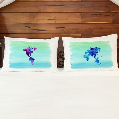 Better Together 2 Piece World in Watercolor Pillow Case Set