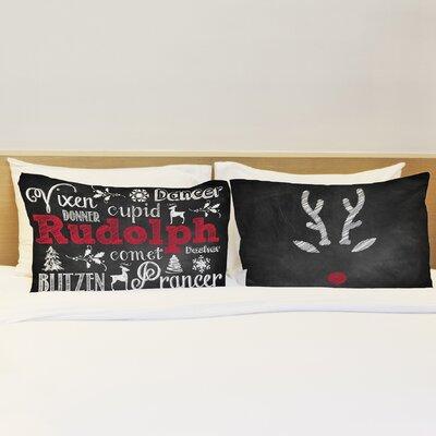 Better Together 2 Piece Reindeer Chalk Rudolph Pillow Case Set