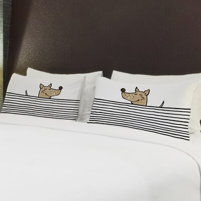 Better Together 2 Piece Peeking Dog Lines Pillow Case Set