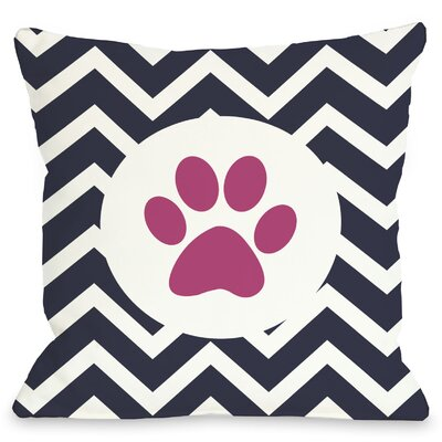 Doggy Decor Chevron Circle Paw Print Throw Pillow