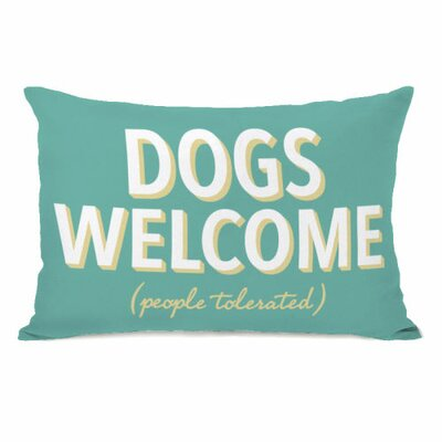 Dogs Welcome People Tolerated Fleece Throw Pillow