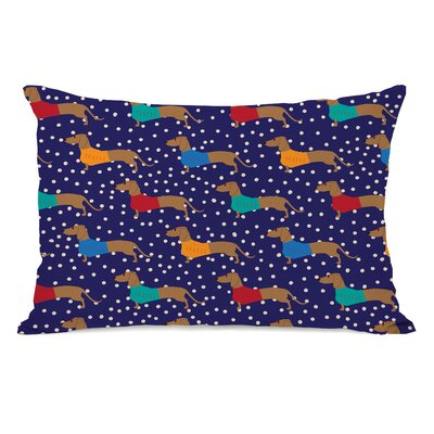 Dachshund Dots Fleece Lumbar Pillow
