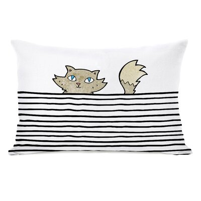 Peeking Cat Lines Lumbar Pillow