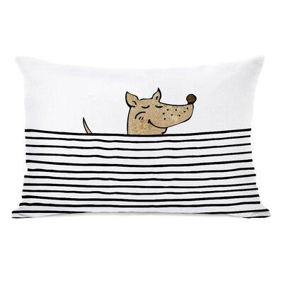 Peeking Dog Lines Fleece Lumbar Pillow