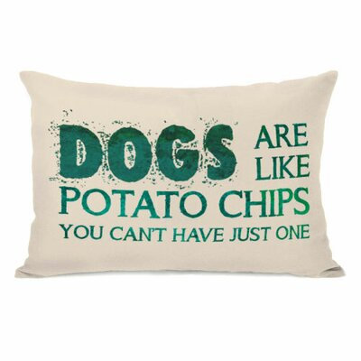 Dogs are like Potato Chips Fleece Lumbar Pillow