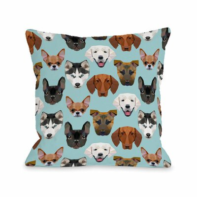 Geo Dogs Throw Pillow Size: 16 H x 16 W