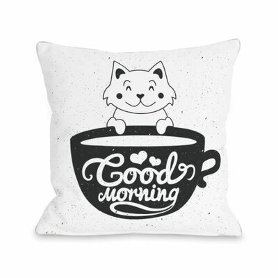 Good Morning Kitten Throw Pillow Size: 18 H x 18 W