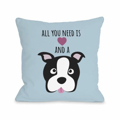 Love and a Dog Heart Throw Pillow Size: 18 H x 18 W