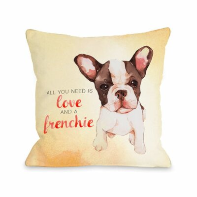 Love and a Frenchie Throw Pillow Size: 16 H x 16 W