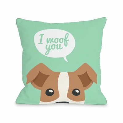 Peeking Terrier Throw Pillow Size: 16 H x 16 W