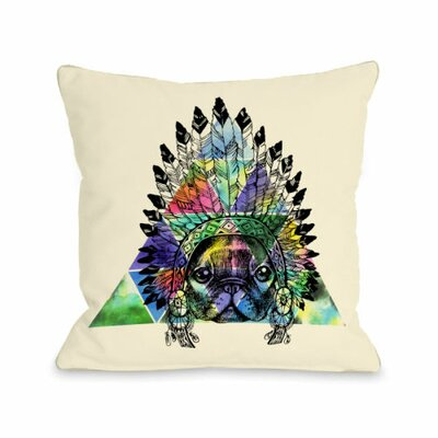 Pug Headdress Fleece Throw Pillow Size: 18 H x 18 W x 3 D