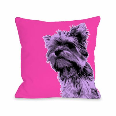 Whisker Dogs Yorkie Throw Pillow Size: 18 H x 18 W
