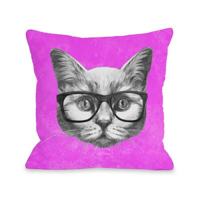 Hipster Cat Fleece Throw Pillow Size: 18 H x 18 W x 3 D