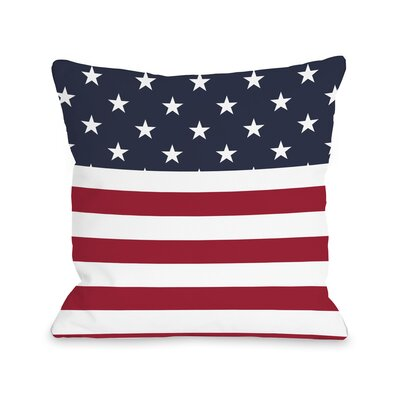 American Flag Section Fleece Throw Pillow