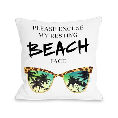 Resting Beach Face Fleece Throw Pillow