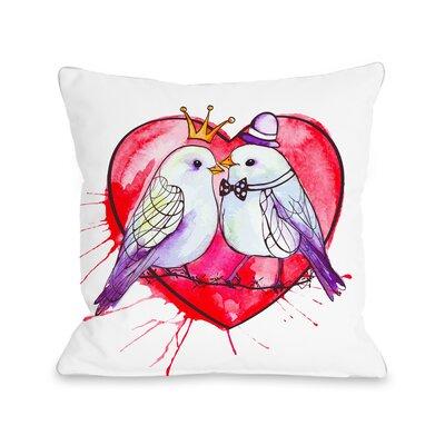 Queen and King Lovebirds Fleece Throw Pillow