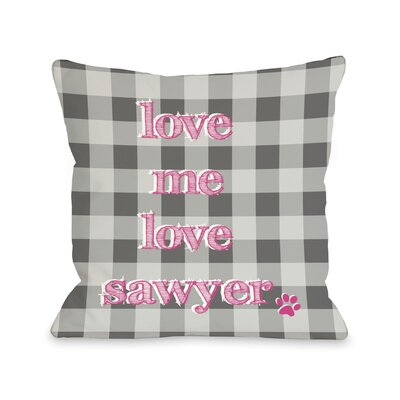 Plaid Love Me Love My Dog Personalized Fleece Throw Pillow