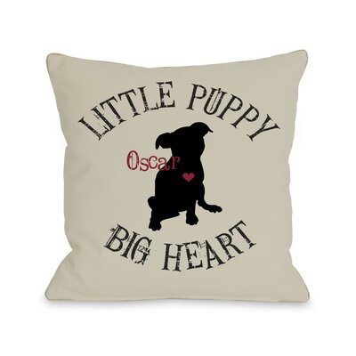 Little Puppy, Big Heart Personalized Fleece Throw Pillow