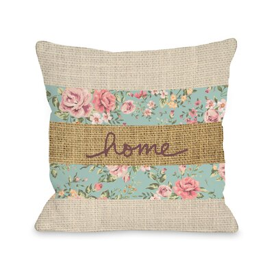 Home Floral Burlap Fleece Throw Pillow