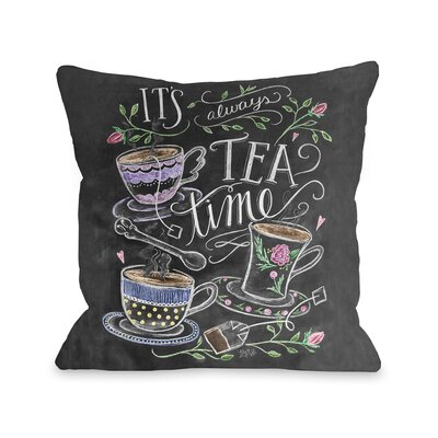 Tea Time Fleece Throw Pillow