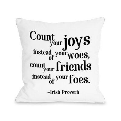 Irish Proverb Joy Fleece Throw Pillow
