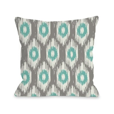 Kelly Ikat Fleece Throw Pillow Color: Gray / Turquoise