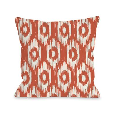 Kelly Ikat Fleece Throw Pillow Color: Orange / Ivory