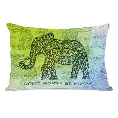 Dont Worry Elephant Fleece Lumbar Pillow