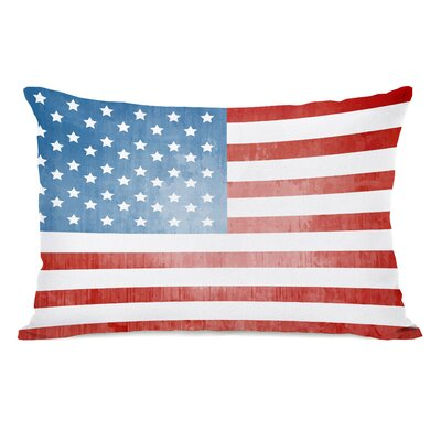 American Flag Textured Fleece Lumbar Pillow