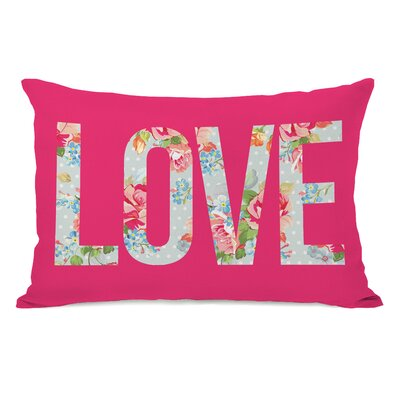 Love Cabbage Rose Fleece Lumbar Pillow