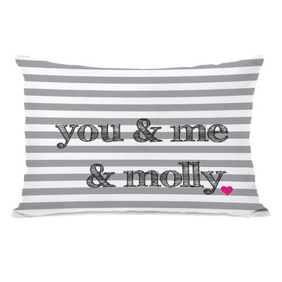 You, Me and Molly Stripe Personalized Fleece Lumbar Pillow