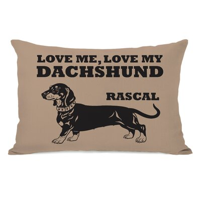 Love Me Love My Dachshund Personalized Fleece Lumbar Pillow
