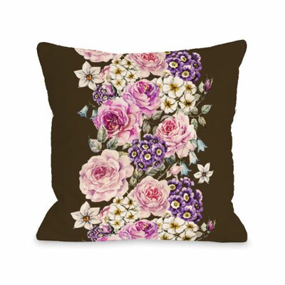 Vintage Flower Stripe Throw Pillow