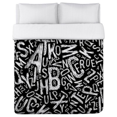 Chalk Letters Duvet Cover Size: Twin