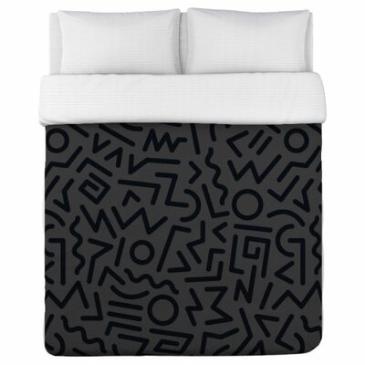Line Jam Duvet Cover Size: King