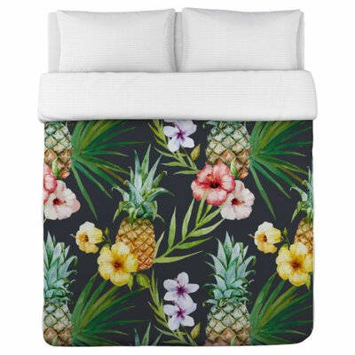 Hawaiian Pineapples Duvet Cover Size: King