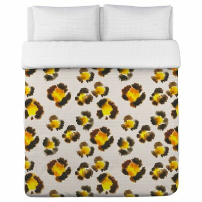 Leopard Spots Watercolor Duvet Cover Size: King