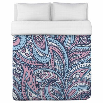 Swirly Paisley Fleece Duvet Cover Size: King