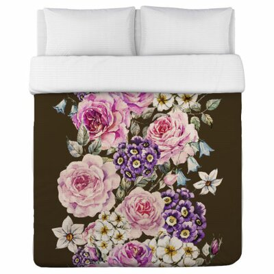 Flower Stripe Duvet Cover Size: King