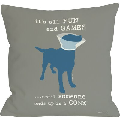 Doggy D�cor Its all Fun and Games Throw Pillow Size: 16 H x 16 W, Color: Grey