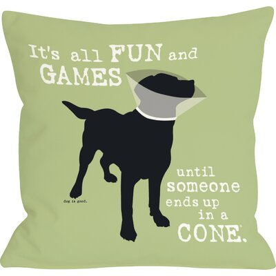 Doggy D�cor Its all Fun and Games Throw Pillow Color: Green, Size: 26 H x 26 W
